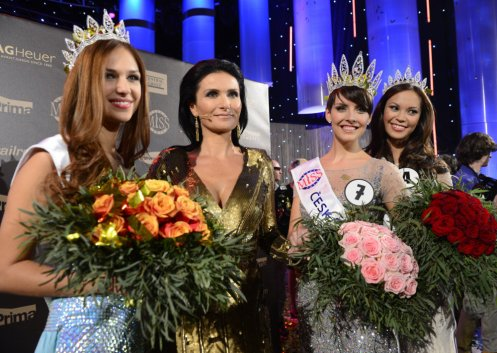 Ceska Miss World Lucie Kovandova; pageant director Michaela Malacova; Ceska Miss 2013 Gabriela Kratochvilova, and Ceska Miss Earth Monica Leo